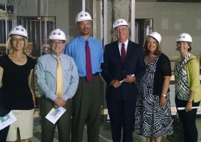 Juvenile Judges Tour the Second Floor during construction. From left to right: Judge Susan Cox; Judge Joe Seidlin; Judge Colin Witt; Chief Judge Art Gamble; Beth Baldwin, Court Administrator; and Emily Kistner, Architect, OPN.